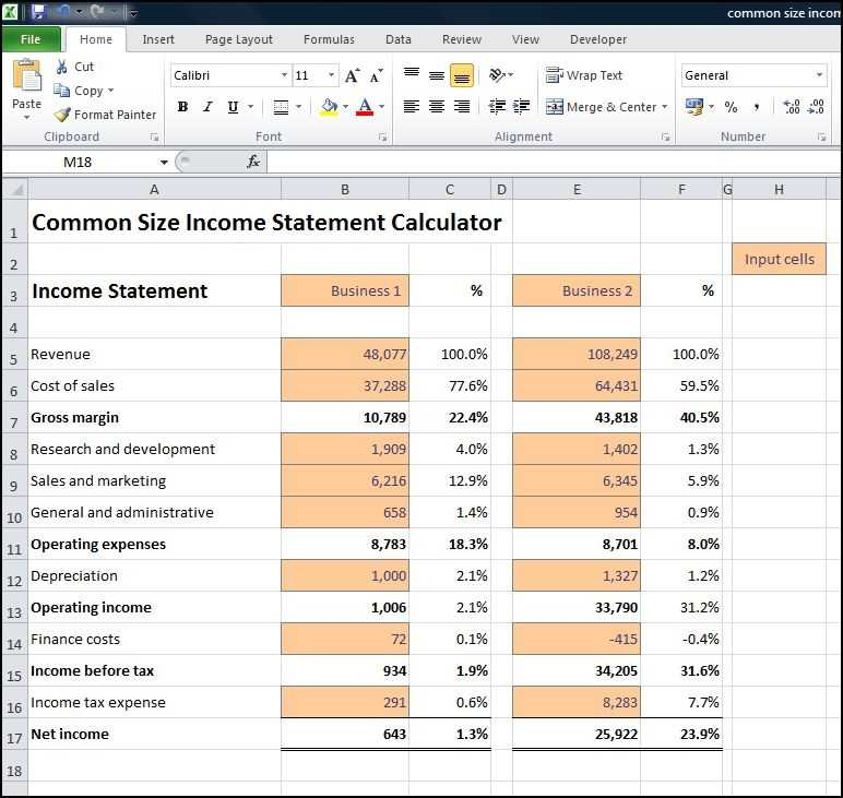 Common Size Income Statement Calculator Double Entry