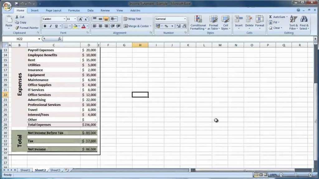 Income Statement Template Excel Excelxo
