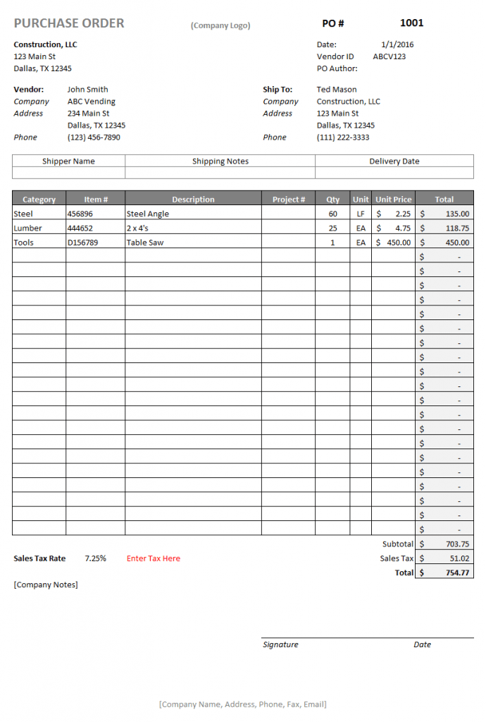 Purchase Order Template Construction Logs