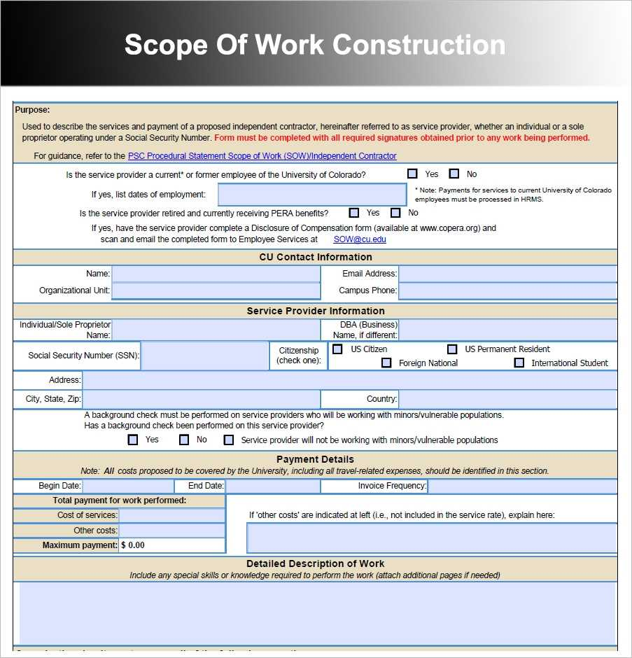 10 Scope Of Work Templates Free Word PDF Excel Doc Formats
