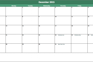 December 2015 calendar My Excel Templates