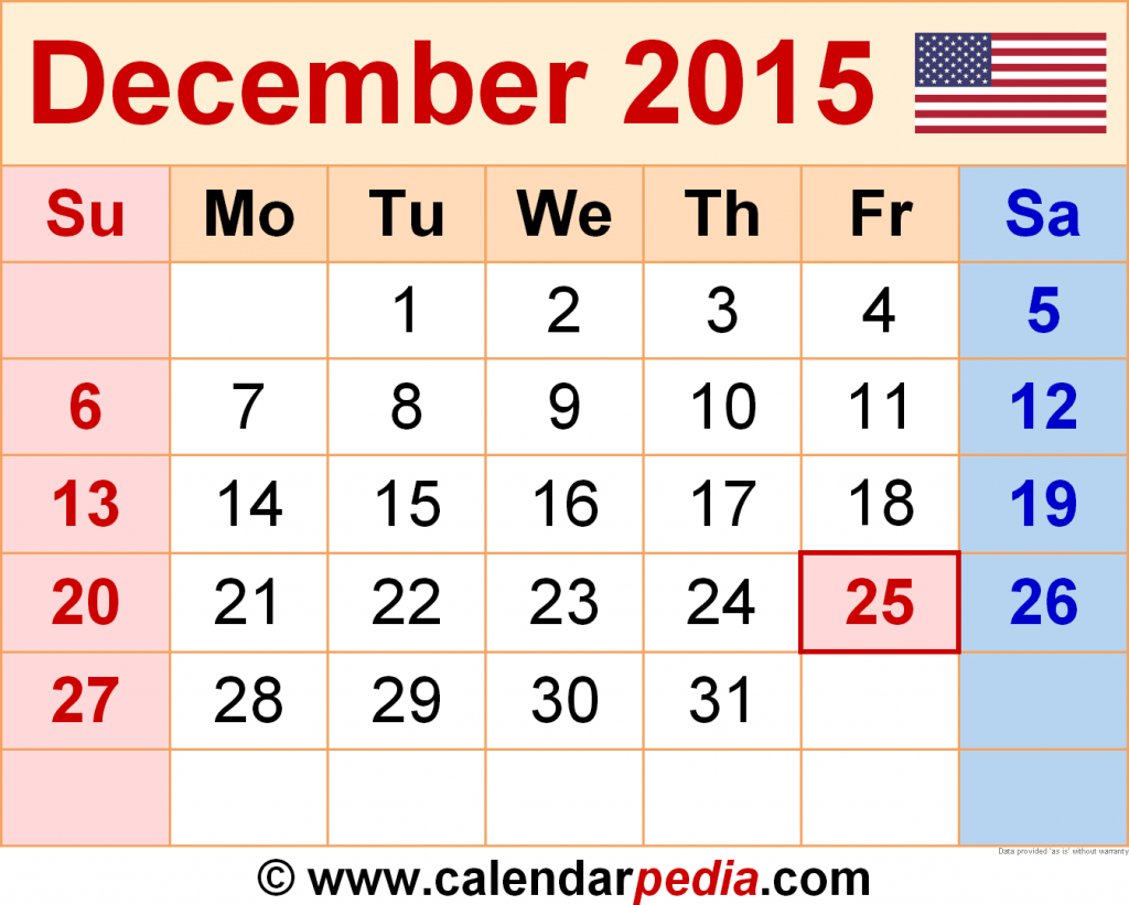 December 2015 Calendar Templates For Word Excel And PDF