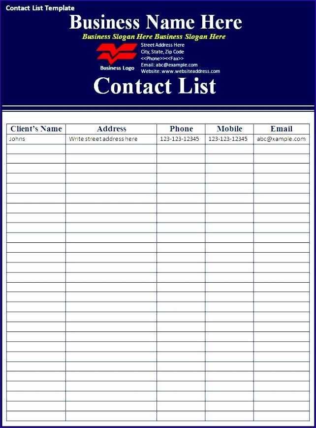8 Excel Contact List Template Excel Templates Excel