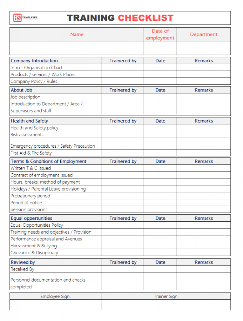 Employee Training Checklist Template For Excel Word