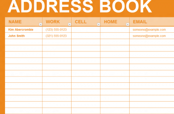 Free Excel Template Personal Address Book Address Book