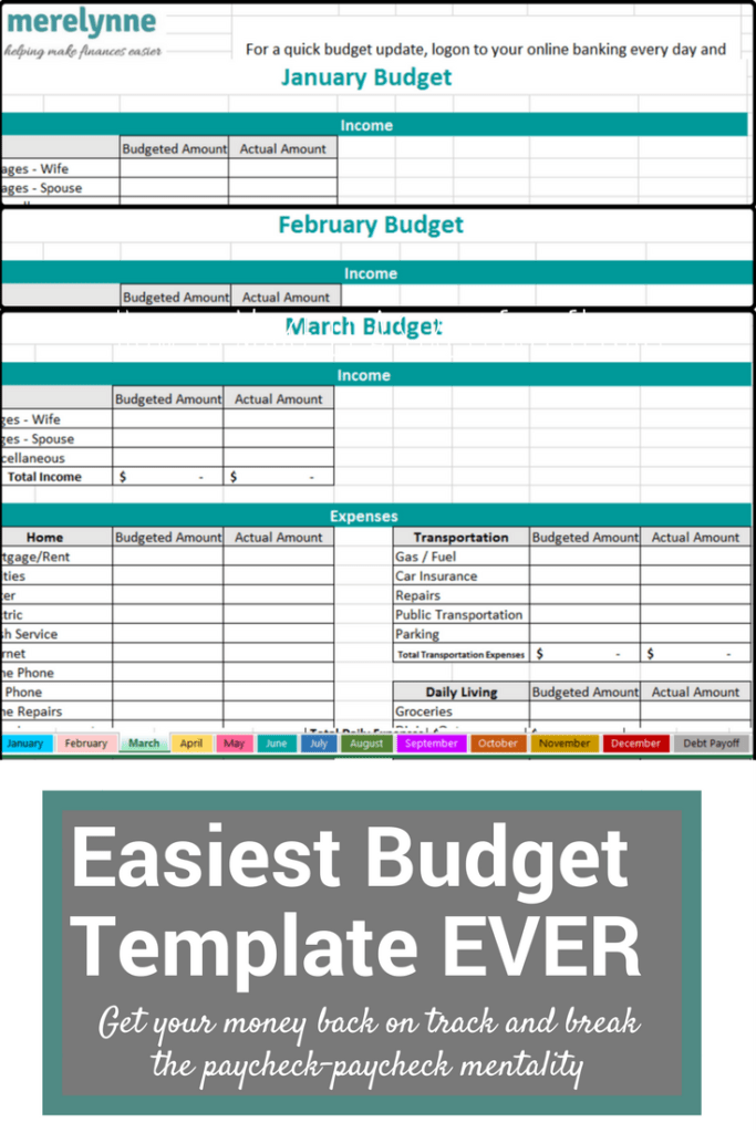 The Easiest To Use Budget Template EVER Meredith Rines
