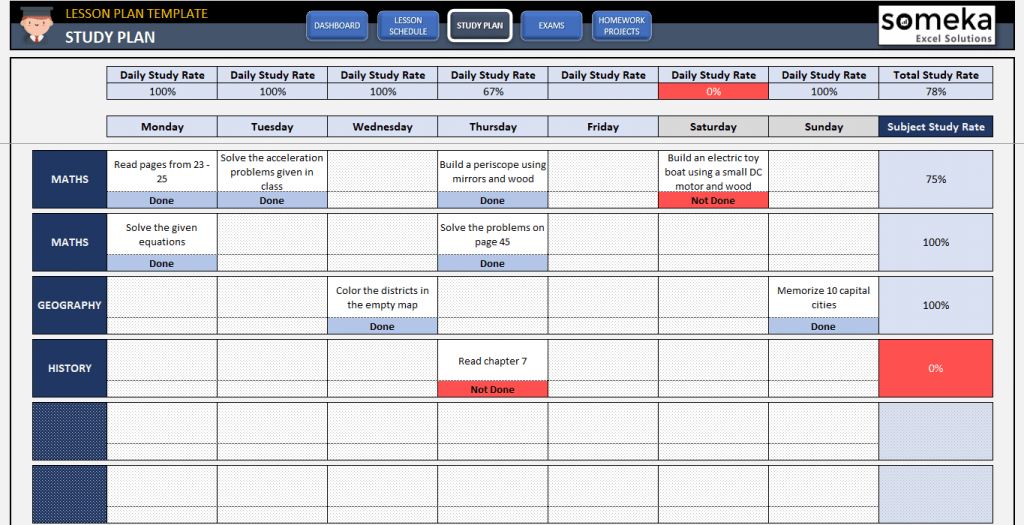 Student Lesson Plan Template Free Study Plan Template In