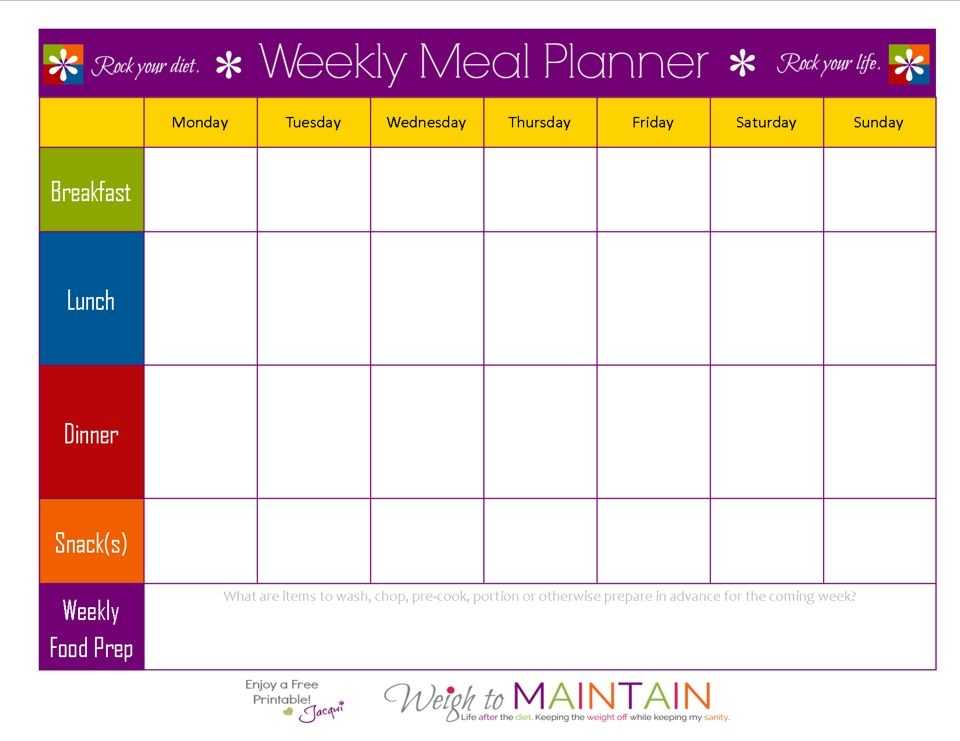 Blank Weekly Meal Plan Sheet In 2019 21 Day Fix Meal