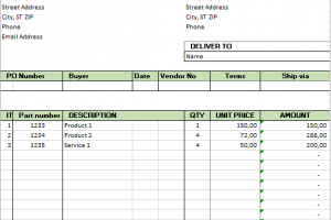 Excel Purchase Order Template Auto Numbering Ten Things