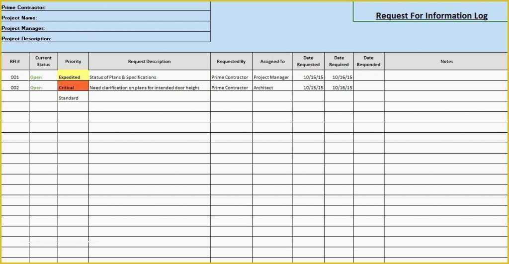 41 Free Construction Submittal Log Template