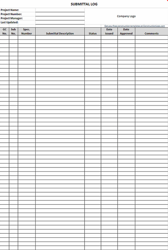 Free Submittal Log Template For Excel ConstructionLogs