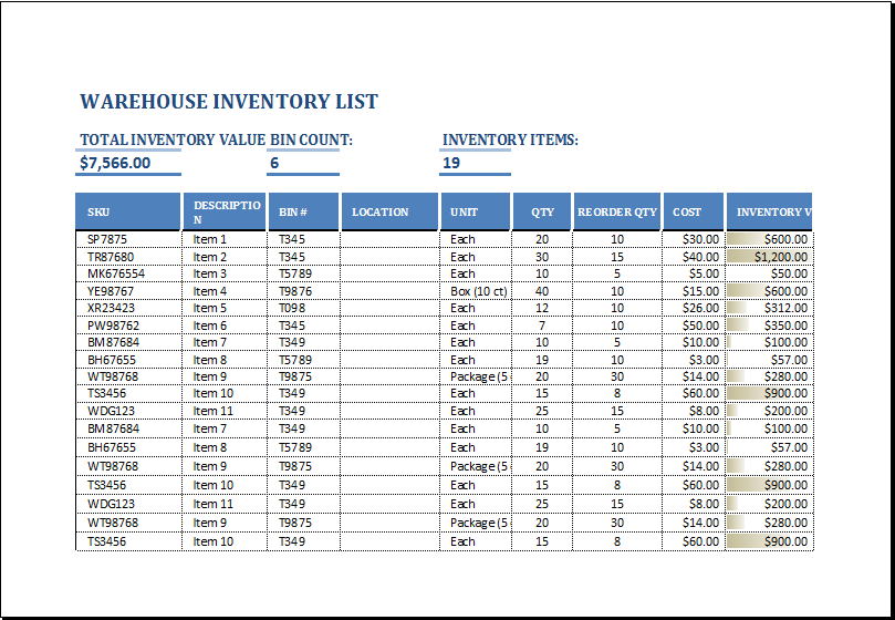 Warehouse Inventory List Template EXCEL Word Excel