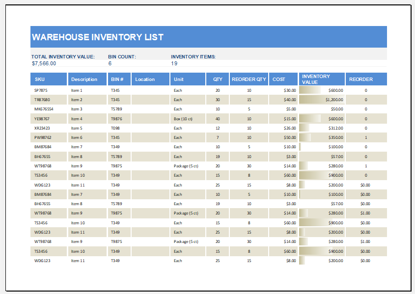 Warehouse Inventory List Template For MS Excel Excel