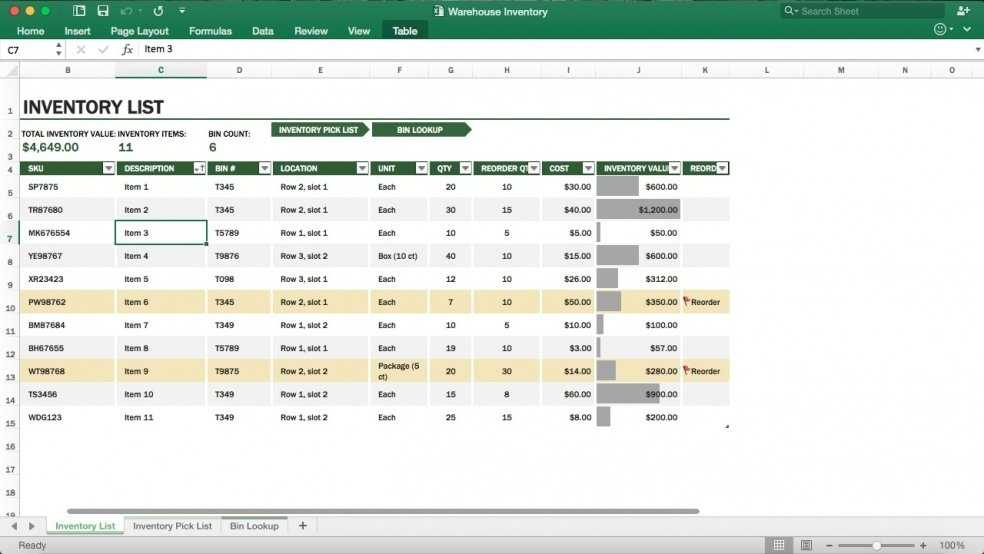Warehouse Inventory Management Excel Template Eloquens