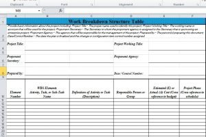 Work Breakdown Structure WBS Excel Template Excel TMP