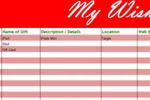 My Holiday Wish List My Excel Templates