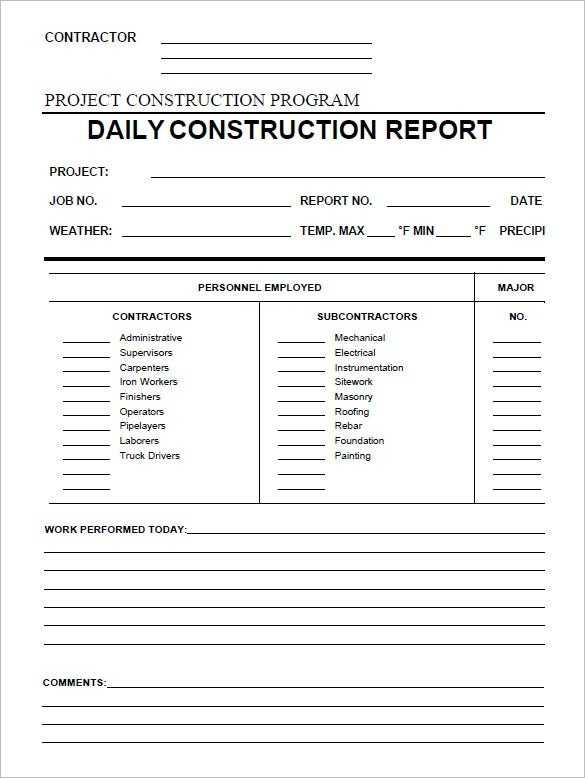 27 FREE Daily Construction Report Templates PDF Google