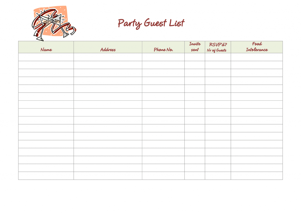 21 Free 41 Free Guest List Templates Word Excel Formats