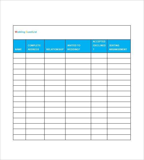 Wedding Guest List Template 10 Free Word Excel PDF