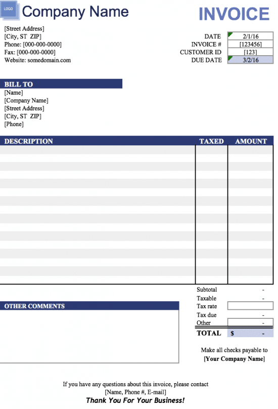 Microsoft Excel Format xlsx For Invoice Templates