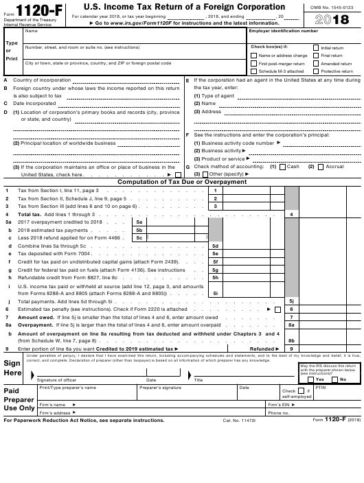 IRS Form 1120 F Download Fillable PDF 2018 U S Income