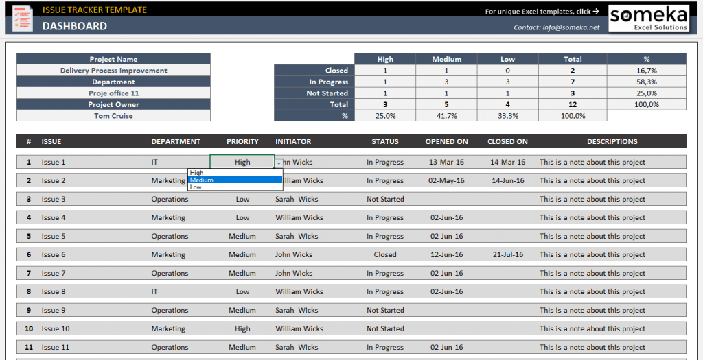 Issue Tracker Template Free Project Issue Tracking Template