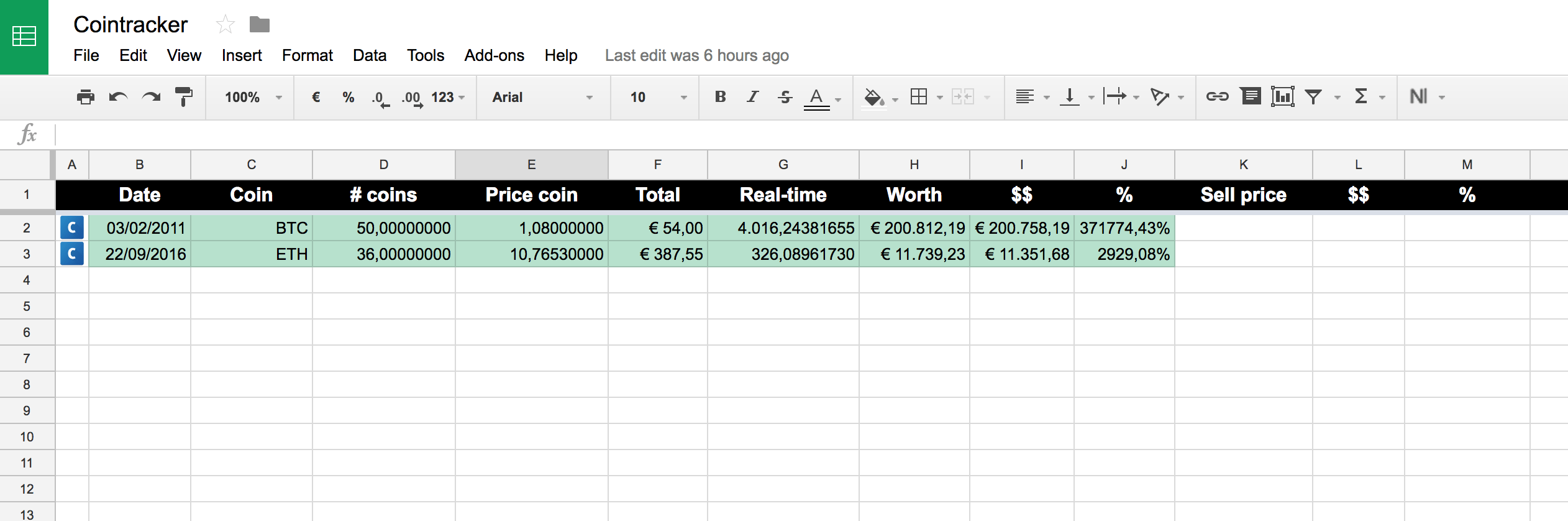 How To Use Google Sheets To Track Cryptocurrency Prices- Bitcoin Excel Spreadsheet Template