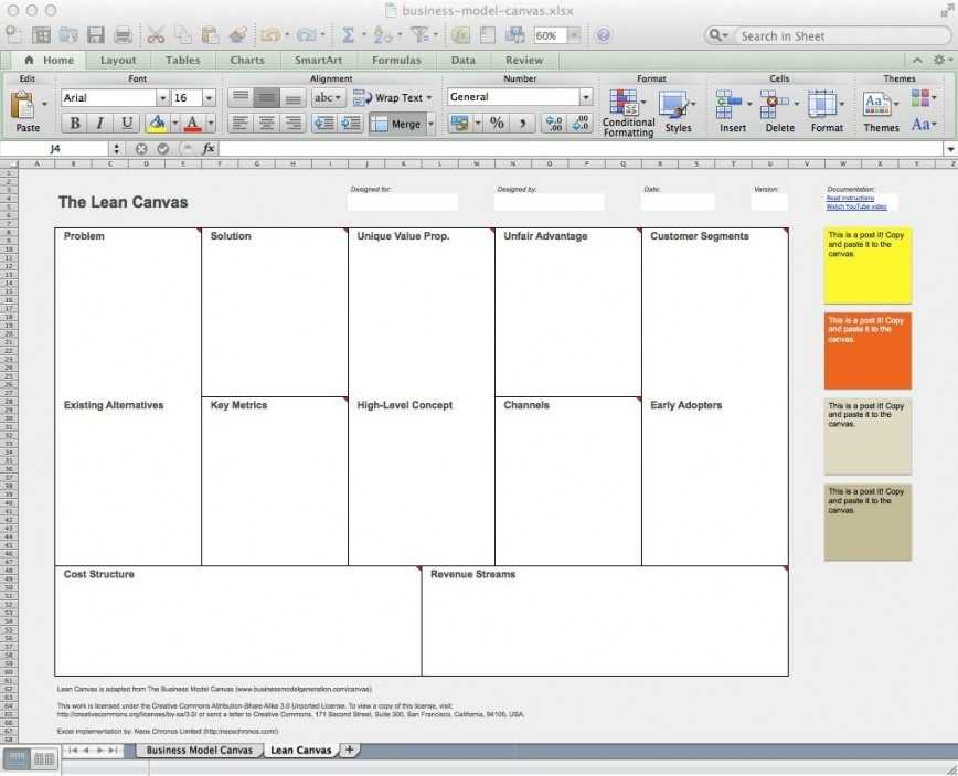 Business Model Canvas Template Excel Addictionary
