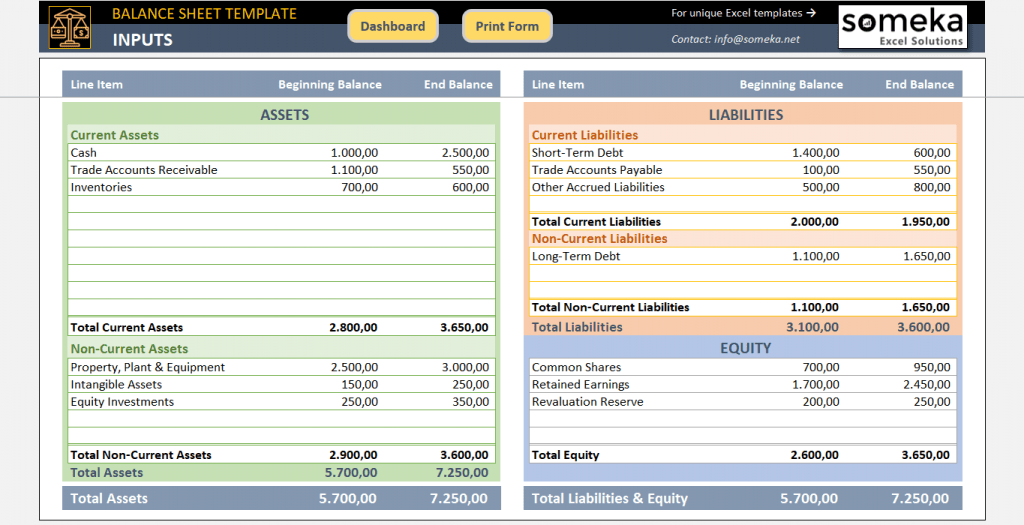 Excel Balance Sheet Template Free Accounting Templates