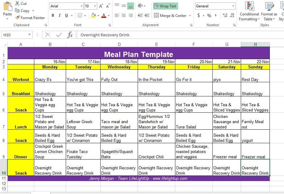 Life Light Up How To Create A Weekly Meal Plan