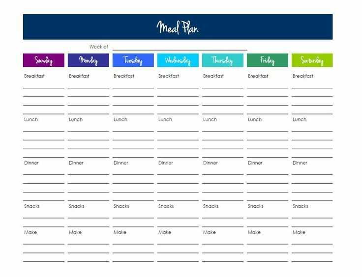Meal Planning Template Excel Google Search Meal