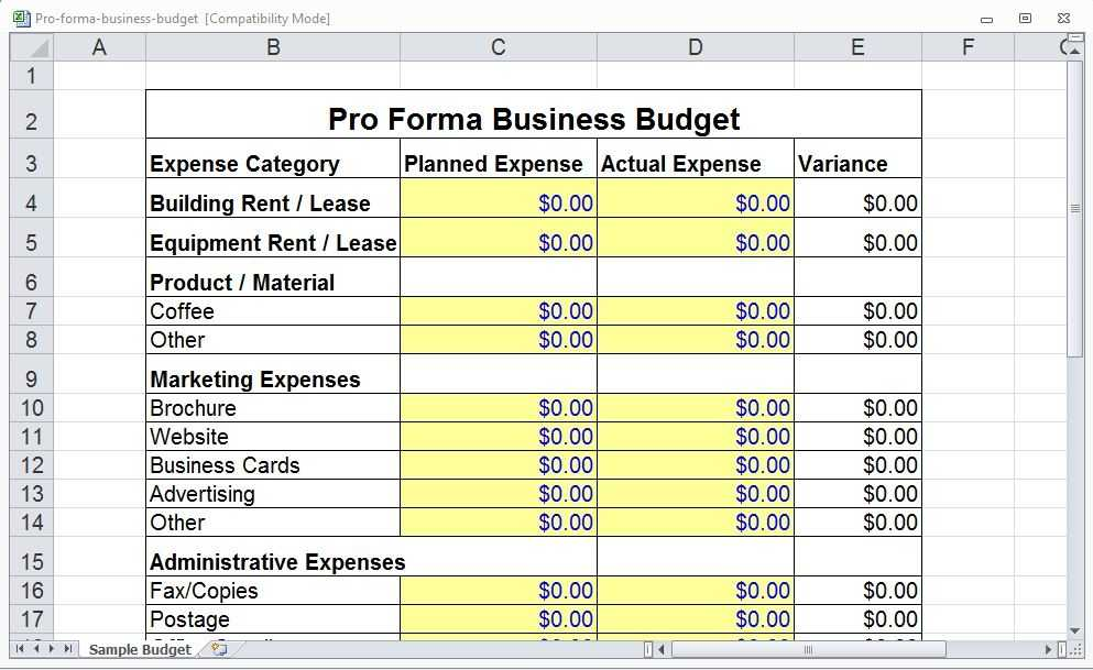 Pro Forma Business Template Pro Forma Template