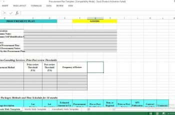 Procurement Plan Excel Template ENGINEERING MANAGEMENT