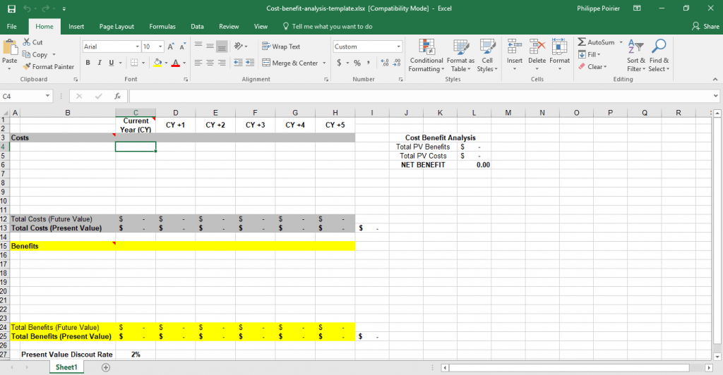 Cost Benefit Analysis Template For Excel Template Trader