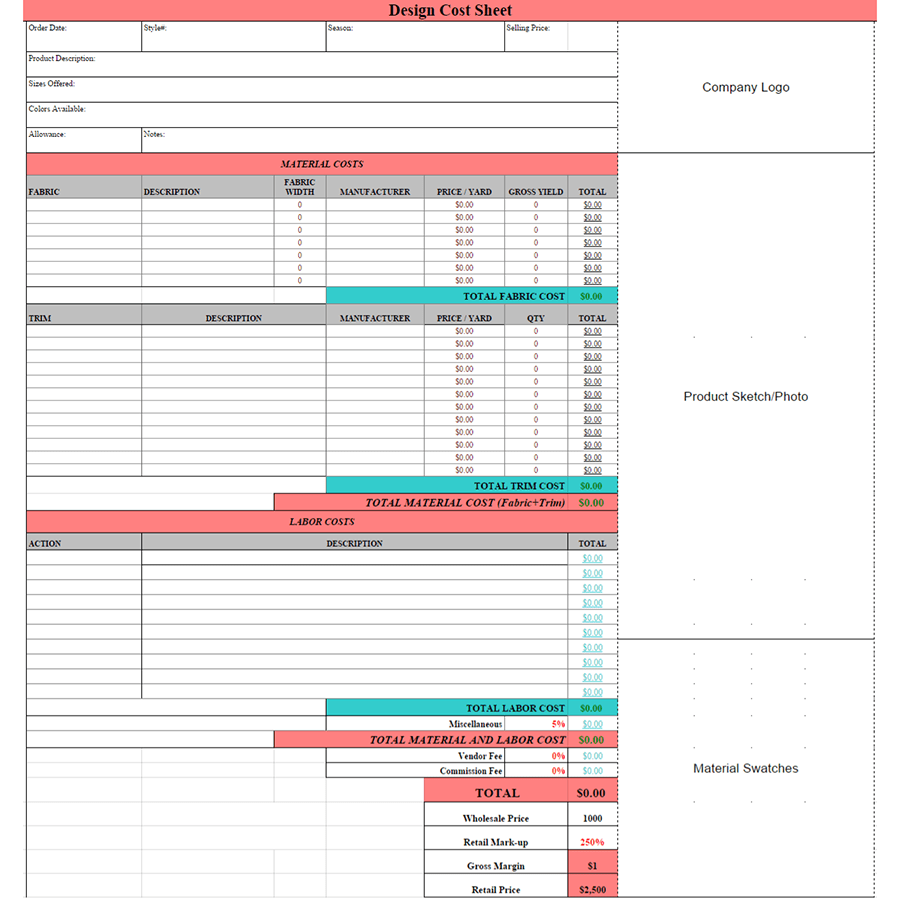 Product Cost Sheet In Excel Db excel
