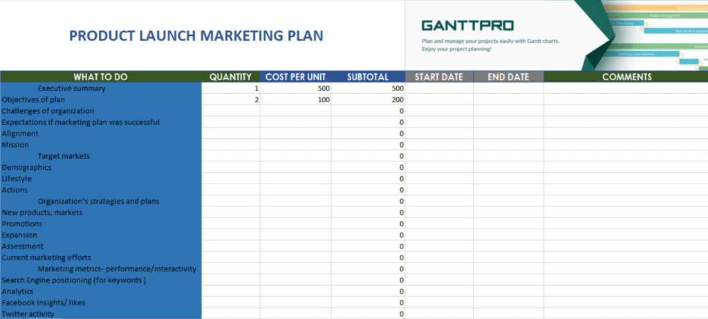 Product Launch Marketing Plan Free Download Excel Template