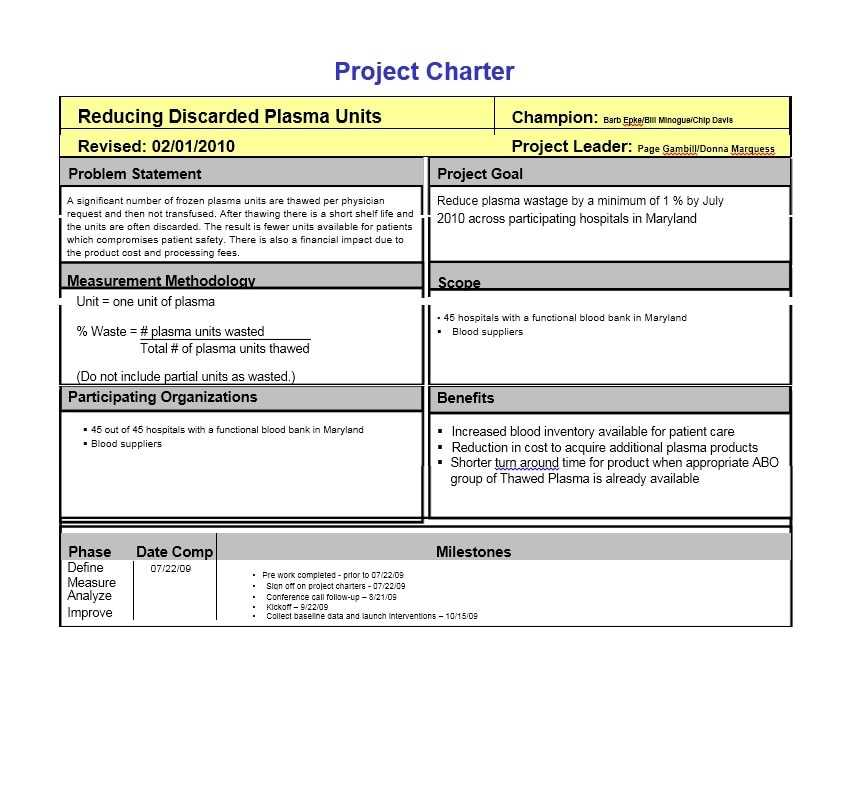 Writing A Project Charter Template Sample