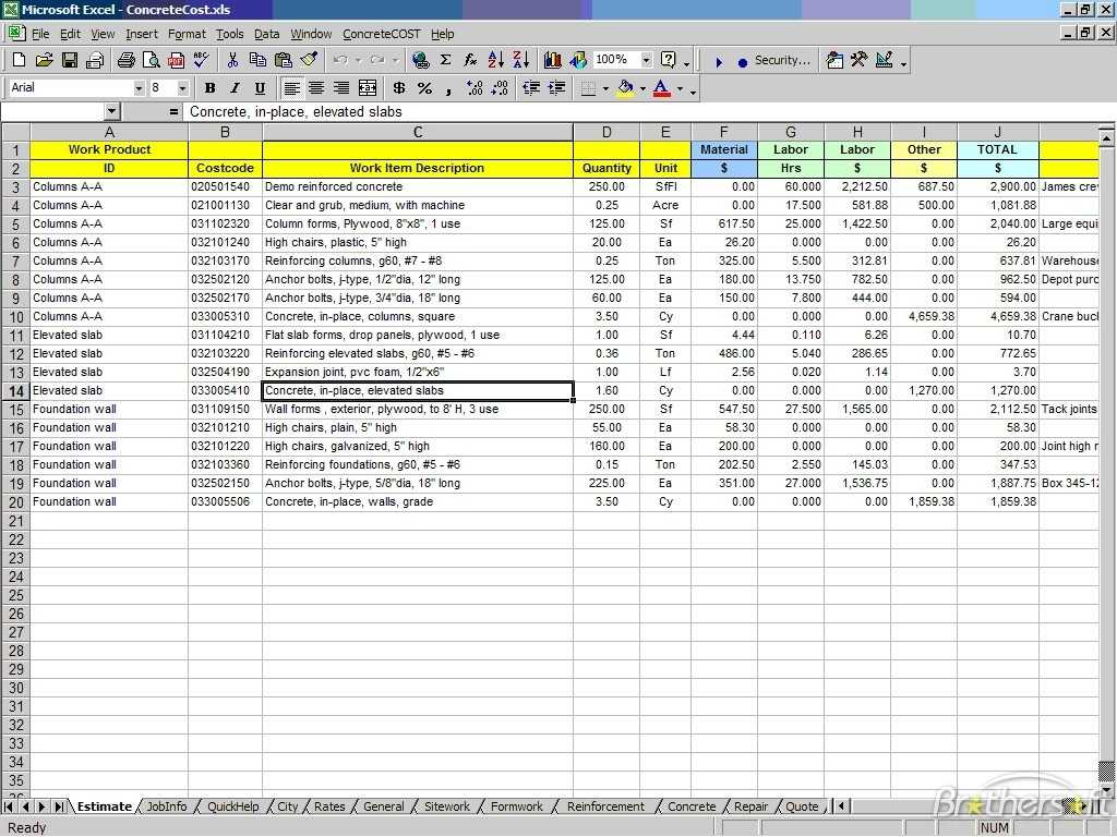 Free Construction Estimate Template Excel Task List