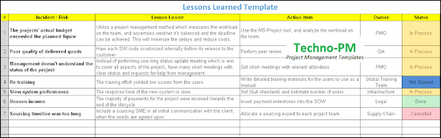 Lessons Learned Template Excel Download Project