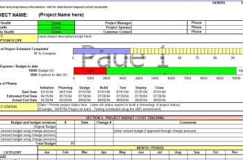 Project Status Report Template In Excel
