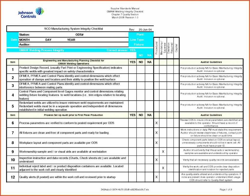 11 Quality Checklist Template Excel Excel Templates