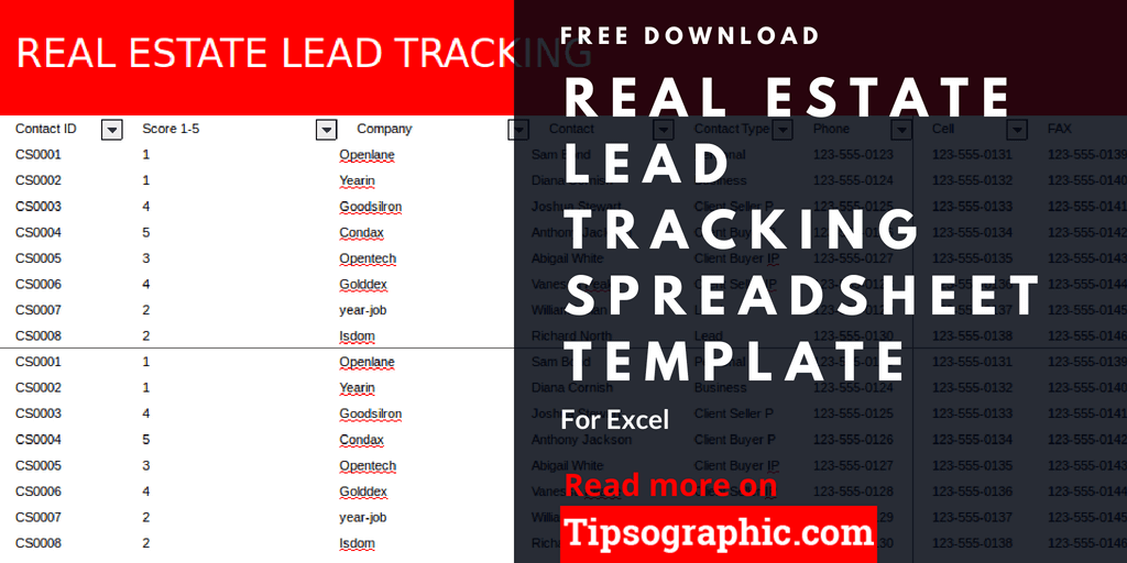 Real Estate Lead Tracking Spreadsheet Template For Excel