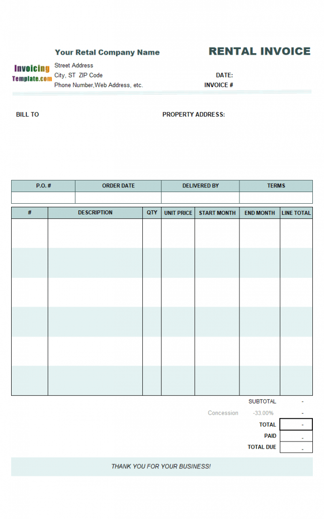 Rental Invoicing Template