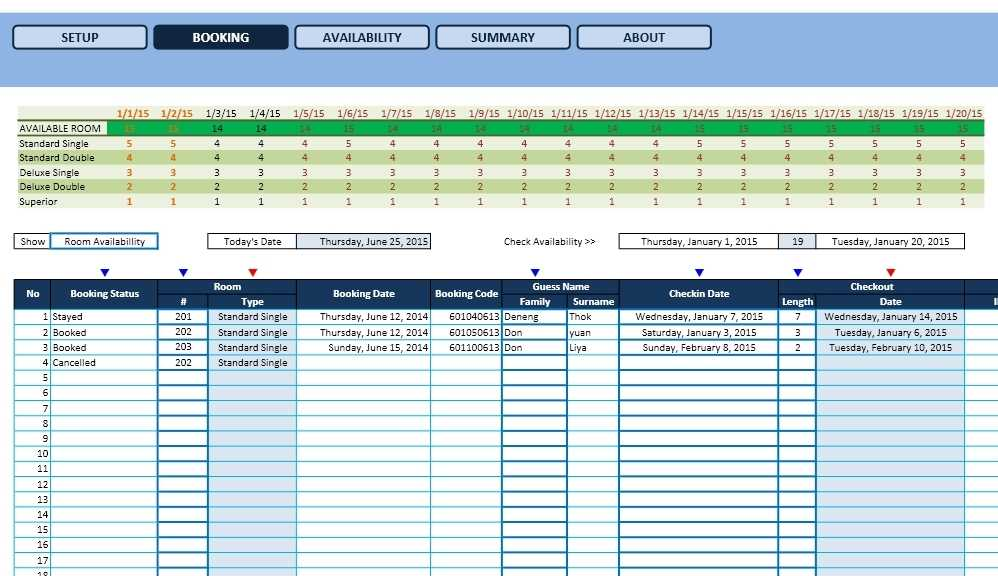 Hotel Reservation Template Excel Templates Excel