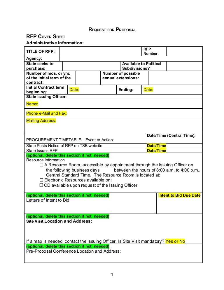 Rfq Template Word Sample Availabel