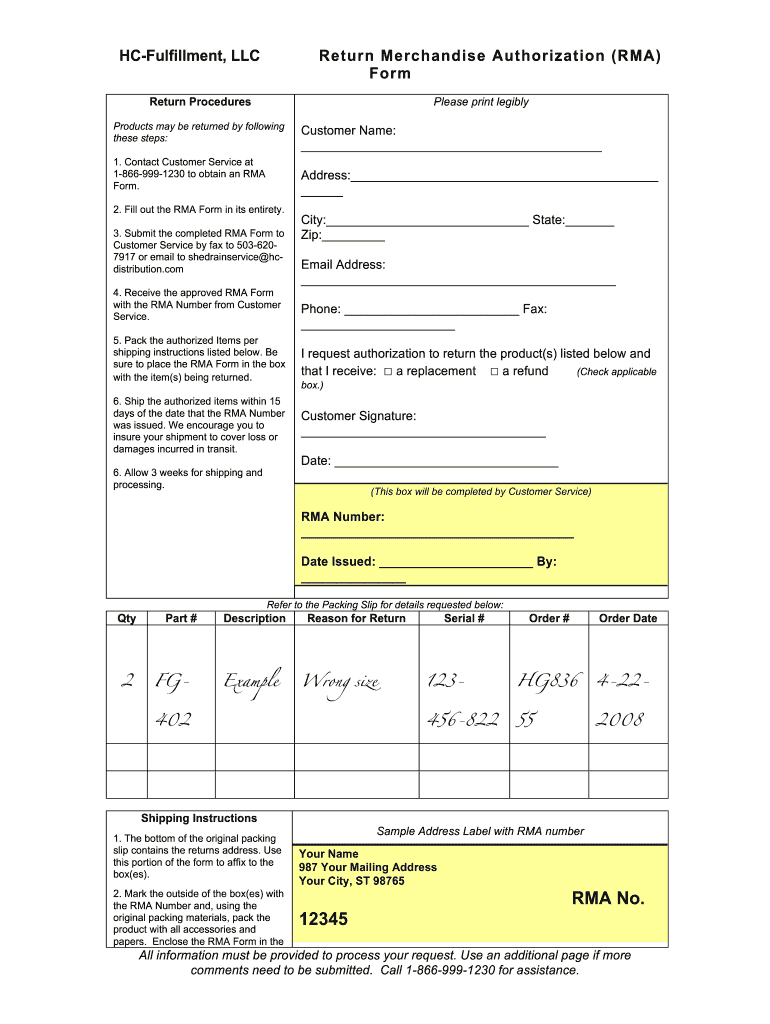 Rma Form Template Fill Online Printable Fillable