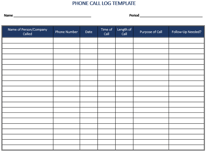 Free Call Log Templates 12 Word Excel PDF Formats