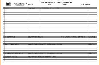 Sales Call Report Template Excel Sample Templates