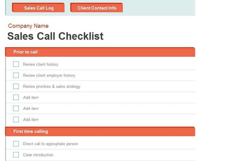 Sales Call Report Template Call Report Template