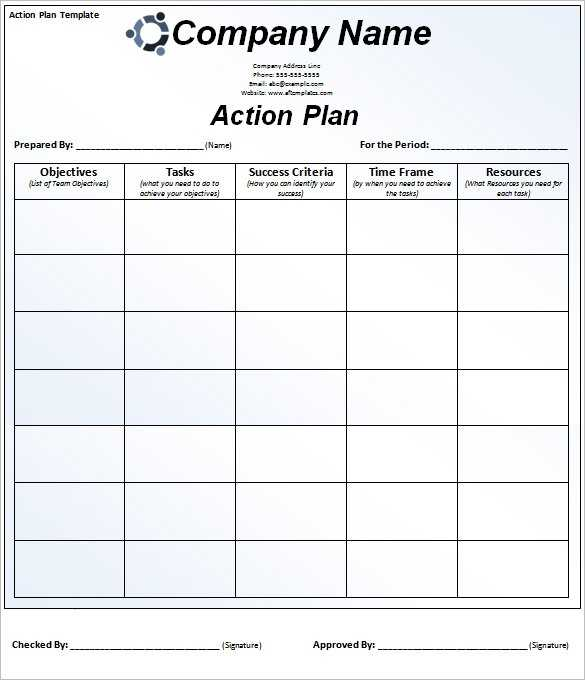 Action Plan Template In Excel Printable Schedule Template